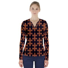 Puzzle1 Black Marble & Rusted Metal V Neck Long Sleeve Top