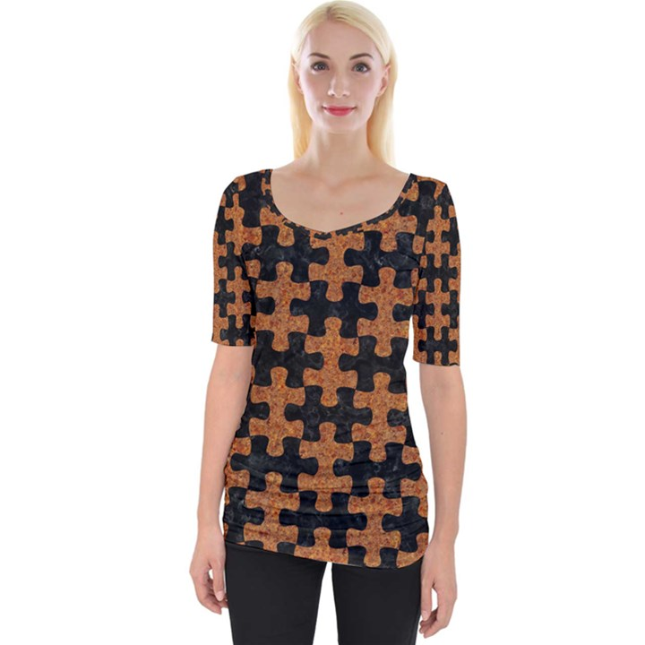 PUZZLE1 BLACK MARBLE & RUSTED METAL Wide Neckline Tee