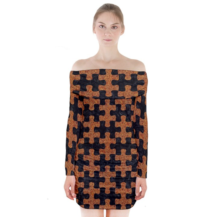 PUZZLE1 BLACK MARBLE & RUSTED METAL Long Sleeve Off Shoulder Dress