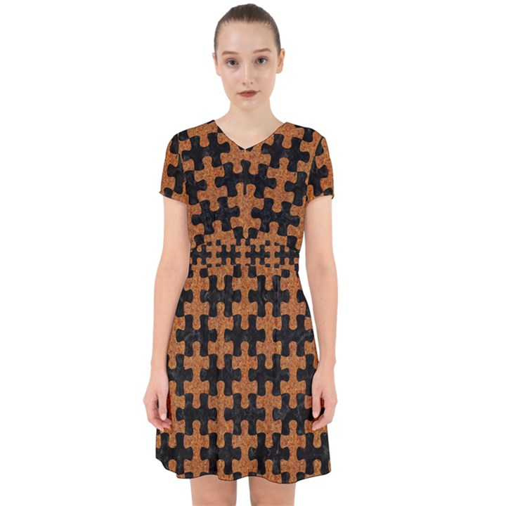 PUZZLE1 BLACK MARBLE & RUSTED METAL Adorable in Chiffon Dress
