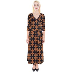 Puzzle1 Black Marble & Rusted Metal Quarter Sleeve Wrap Maxi Dress