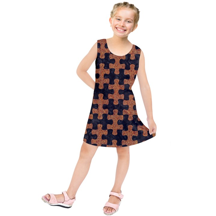 PUZZLE1 BLACK MARBLE & RUSTED METAL Kids  Tunic Dress