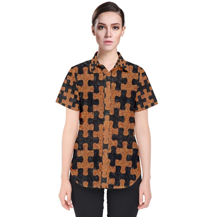 PUZZLE1 BLACK MARBLE & RUSTED METAL Women s Short Sleeve Shirt