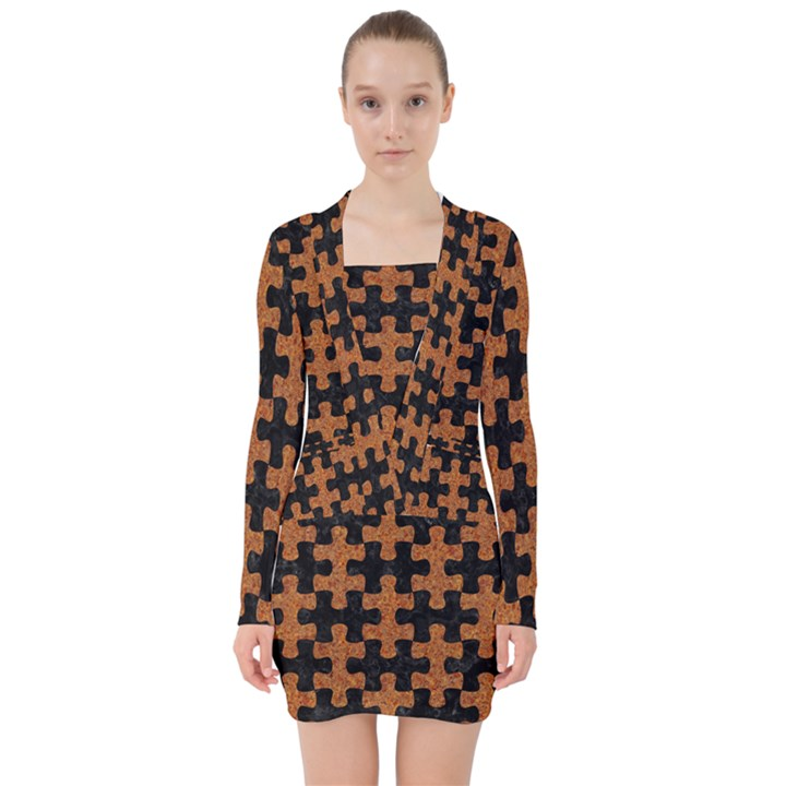 PUZZLE1 BLACK MARBLE & RUSTED METAL V-neck Bodycon Long Sleeve Dress