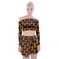 Puzzle1 Black Marble & Rusted Metal Off Shoulder Top With Mini Skirt Set