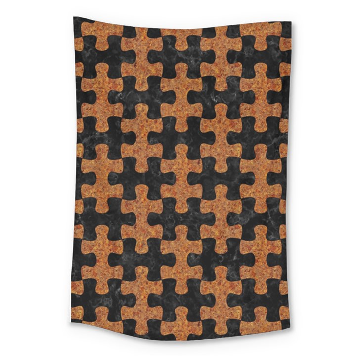 PUZZLE1 BLACK MARBLE & RUSTED METAL Large Tapestry