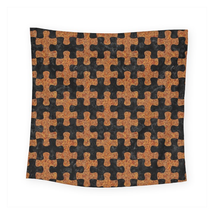 PUZZLE1 BLACK MARBLE & RUSTED METAL Square Tapestry (Small)