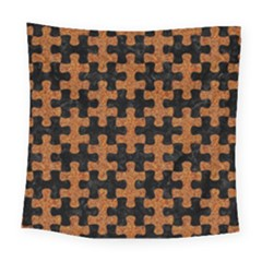 Puzzle1 Black Marble & Rusted Metal Square Tapestry (large)