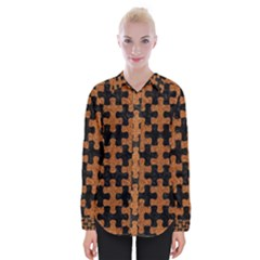 Puzzle1 Black Marble & Rusted Metal Womens Long Sleeve Shirt