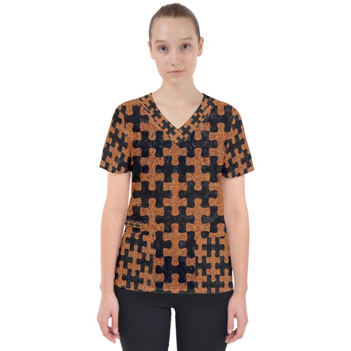 PUZZLE1 BLACK MARBLE & RUSTED METAL Scrub Top
