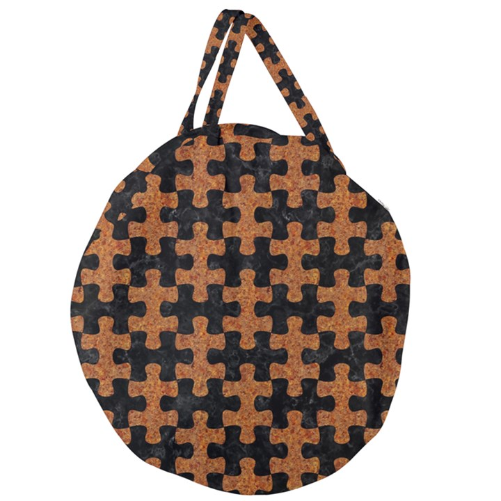 PUZZLE1 BLACK MARBLE & RUSTED METAL Giant Round Zipper Tote