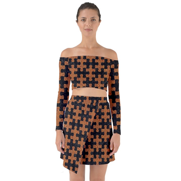 PUZZLE1 BLACK MARBLE & RUSTED METAL Off Shoulder Top with Skirt Set