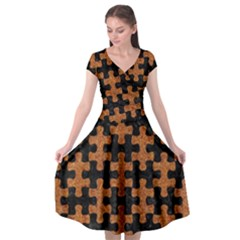 Puzzle1 Black Marble & Rusted Metal Cap Sleeve Wrap Front Dress