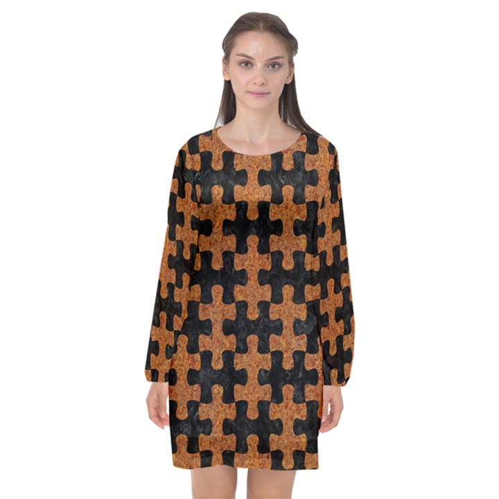 PUZZLE1 BLACK MARBLE & RUSTED METAL Long Sleeve Chiffon Shift Dress