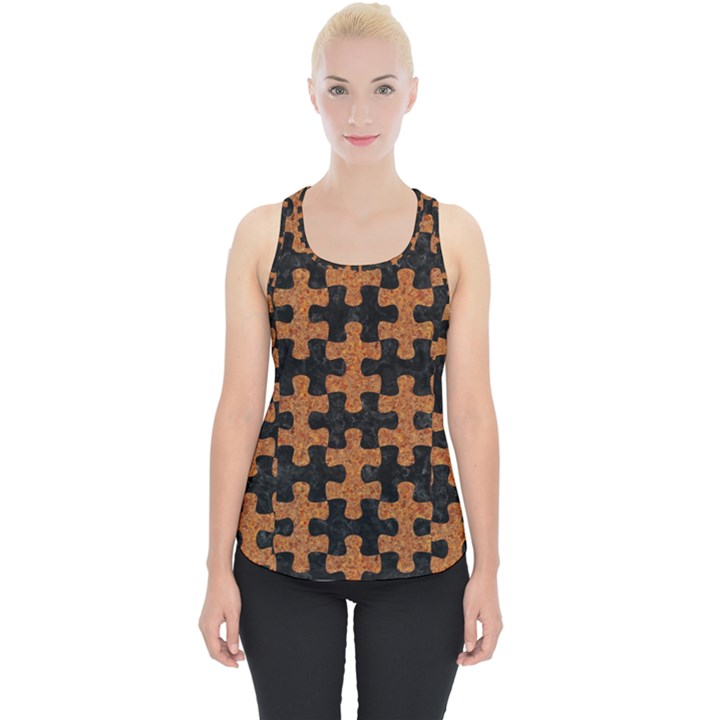 PUZZLE1 BLACK MARBLE & RUSTED METAL Piece Up Tank Top