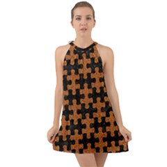 Puzzle1 Black Marble & Rusted Metal Halter Tie Back Chiffon Dress