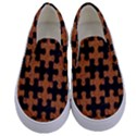 PUZZLE1 BLACK MARBLE & RUSTED METAL Kids  Canvas Slip Ons View1