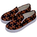 PUZZLE1 BLACK MARBLE & RUSTED METAL Kids  Canvas Slip Ons View2