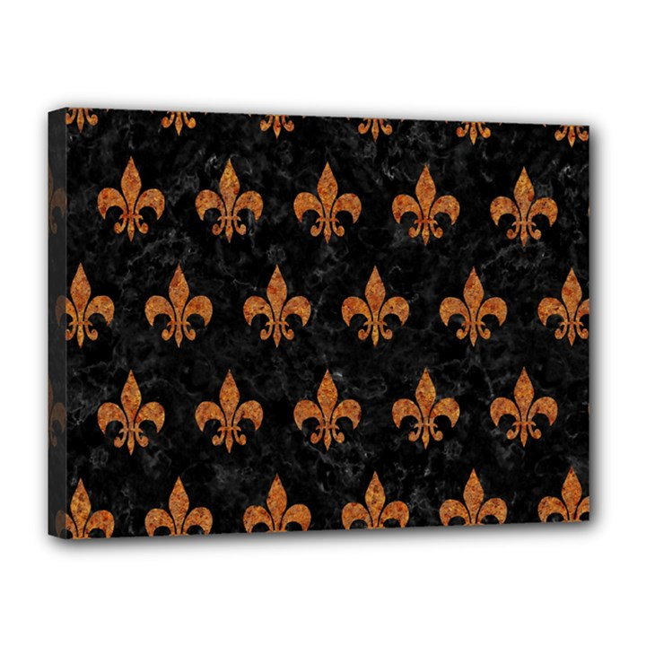 ROYAL1 BLACK MARBLE & RUSTED METAL Canvas 16  x 12