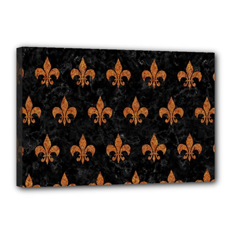 Royal1 Black Marble & Rusted Metal Canvas 18  X 12