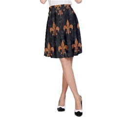 Royal1 Black Marble & Rusted Metal A Line Skirt
