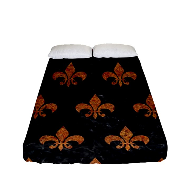 ROYAL1 BLACK MARBLE & RUSTED METAL Fitted Sheet (Full/ Double Size)
