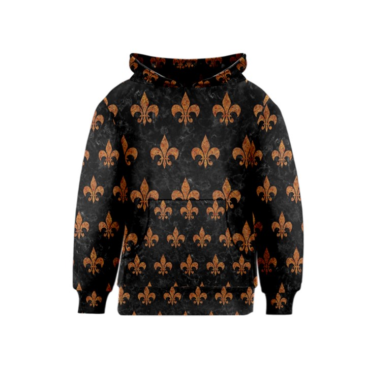 ROYAL1 BLACK MARBLE & RUSTED METAL Kids  Pullover Hoodie
