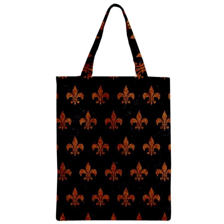 ROYAL1 BLACK MARBLE & RUSTED METAL Zipper Classic Tote Bag