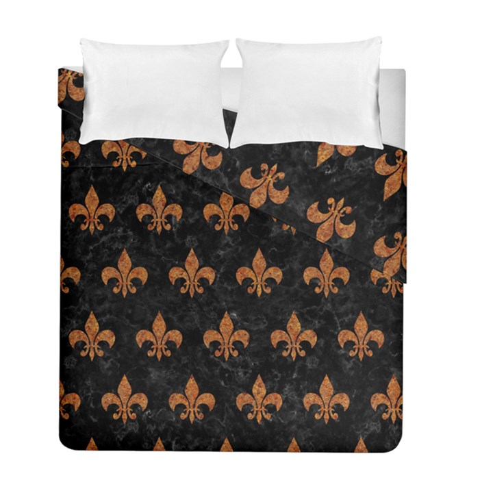 ROYAL1 BLACK MARBLE & RUSTED METAL Duvet Cover Double Side (Full/ Double Size)
