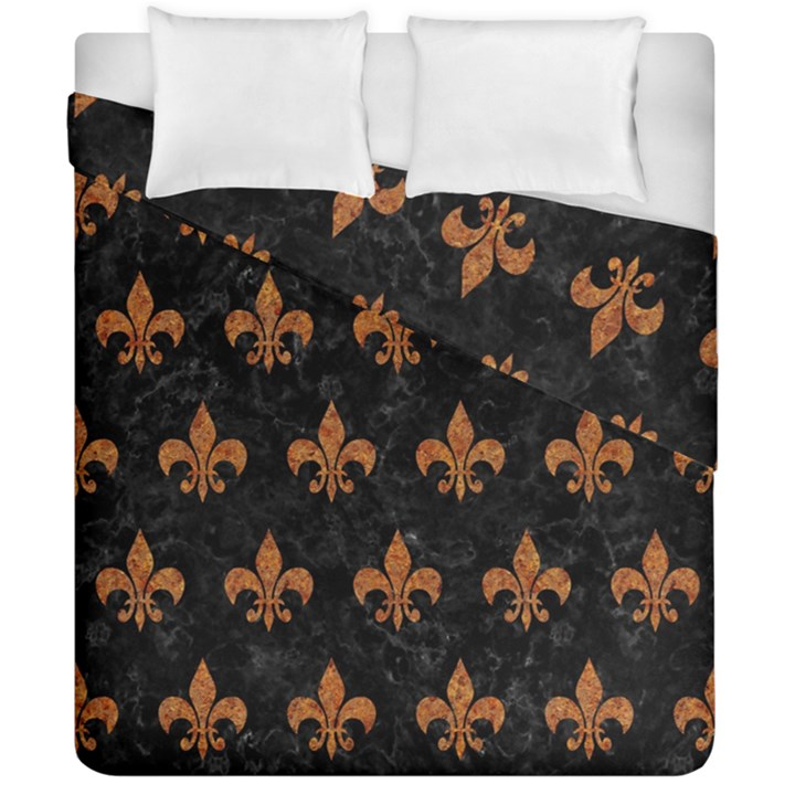 ROYAL1 BLACK MARBLE & RUSTED METAL Duvet Cover Double Side (California King Size)