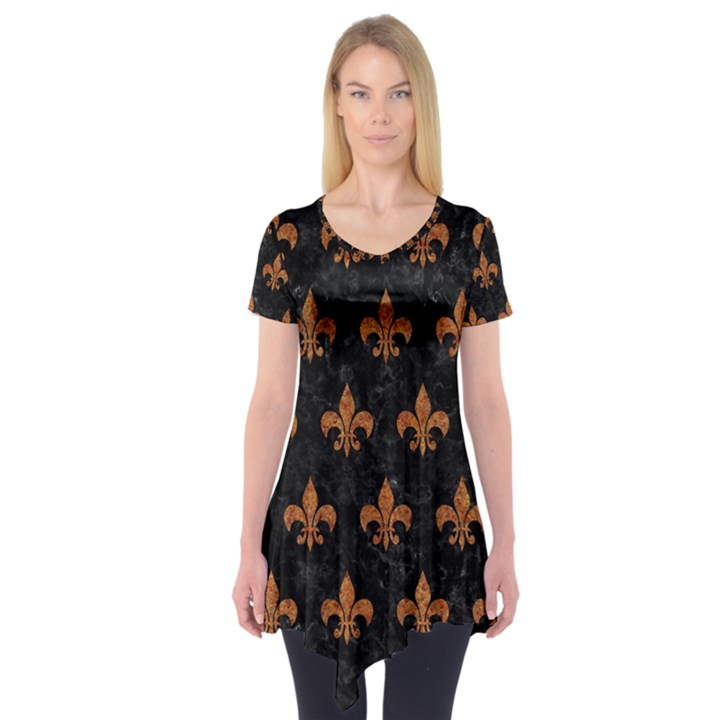 ROYAL1 BLACK MARBLE & RUSTED METAL Short Sleeve Tunic