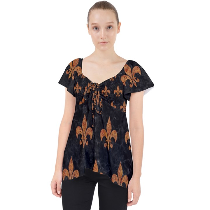 ROYAL1 BLACK MARBLE & RUSTED METAL Lace Front Dolly Top