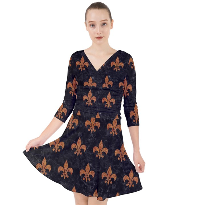 ROYAL1 BLACK MARBLE & RUSTED METAL Quarter Sleeve Front Wrap Dress
