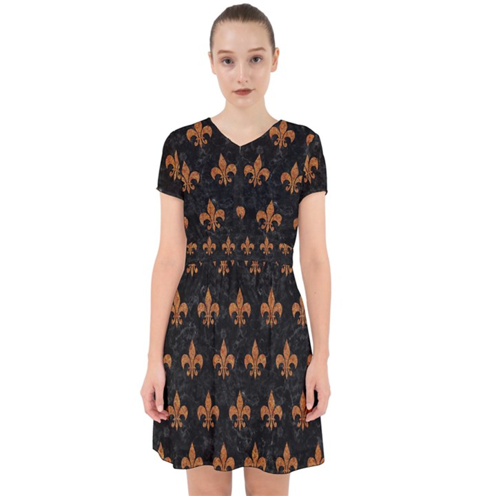 ROYAL1 BLACK MARBLE & RUSTED METAL Adorable in Chiffon Dress