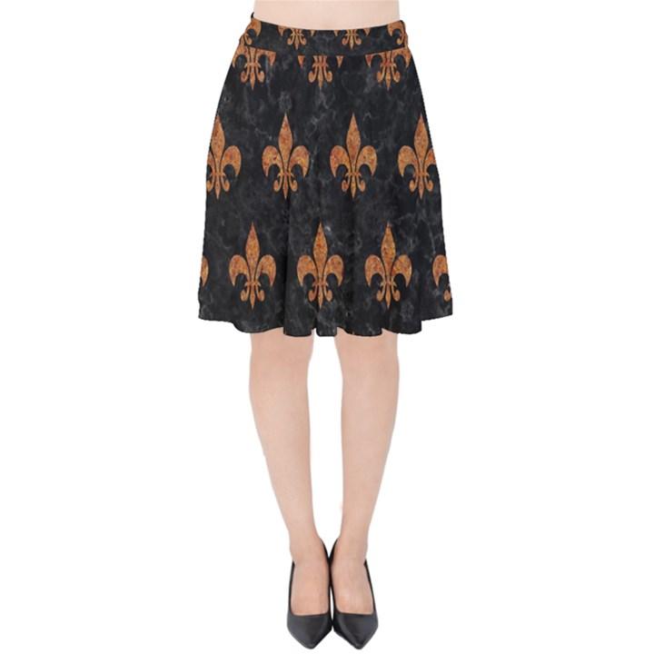ROYAL1 BLACK MARBLE & RUSTED METAL Velvet High Waist Skirt