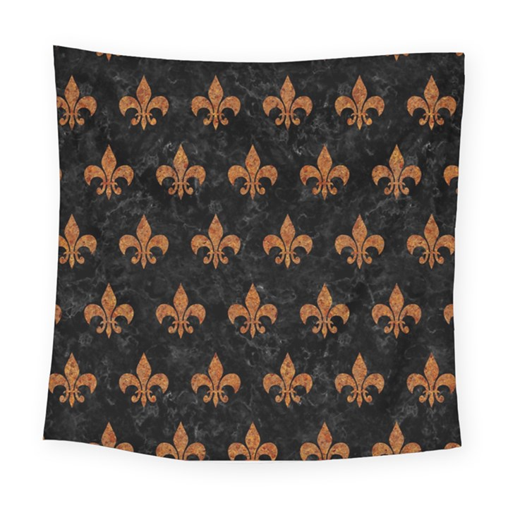 ROYAL1 BLACK MARBLE & RUSTED METAL Square Tapestry (Large)