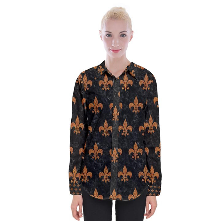 ROYAL1 BLACK MARBLE & RUSTED METAL Womens Long Sleeve Shirt