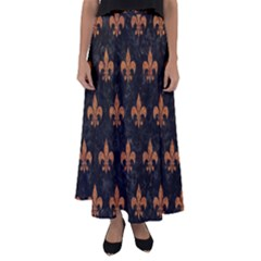 Royal1 Black Marble & Rusted Metal Flared Maxi Skirt