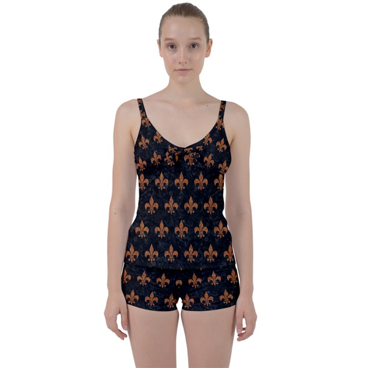 ROYAL1 BLACK MARBLE & RUSTED METAL Tie Front Two Piece Tankini