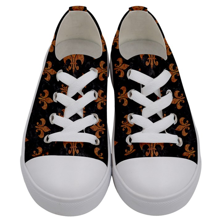 ROYAL1 BLACK MARBLE & RUSTED METAL Kids  Low Top Canvas Sneakers