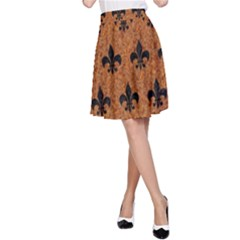 Royal1 Black Marble & Rusted Metal (r) A Line Skirt