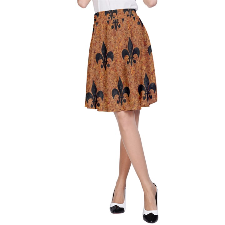 ROYAL1 BLACK MARBLE & RUSTED METAL (R) A-Line Skirt