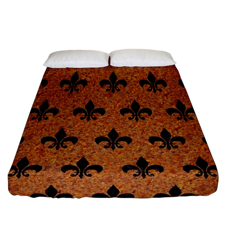 ROYAL1 BLACK MARBLE & RUSTED METAL (R) Fitted Sheet (California King Size)