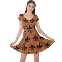Royal1 Black Marble & Rusted Metal (r) Cap Sleeve Dress
