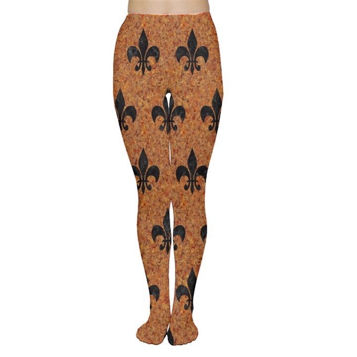 ROYAL1 BLACK MARBLE & RUSTED METAL (R) Women s Tights