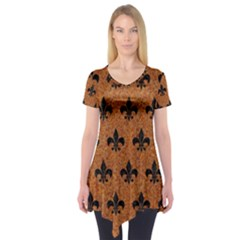 Royal1 Black Marble & Rusted Metal (r) Short Sleeve Tunic