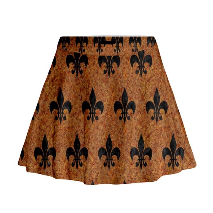 ROYAL1 BLACK MARBLE & RUSTED METAL (R) Mini Flare Skirt