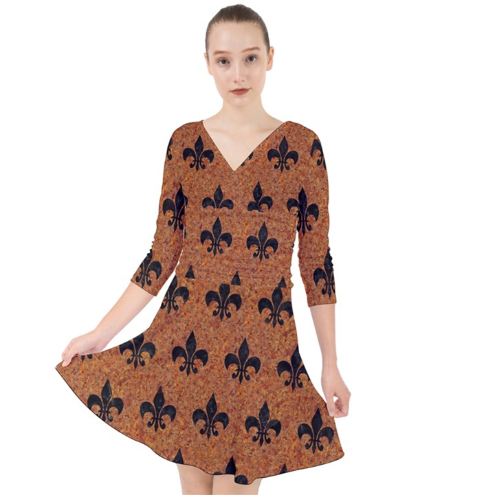 ROYAL1 BLACK MARBLE & RUSTED METAL (R) Quarter Sleeve Front Wrap Dress