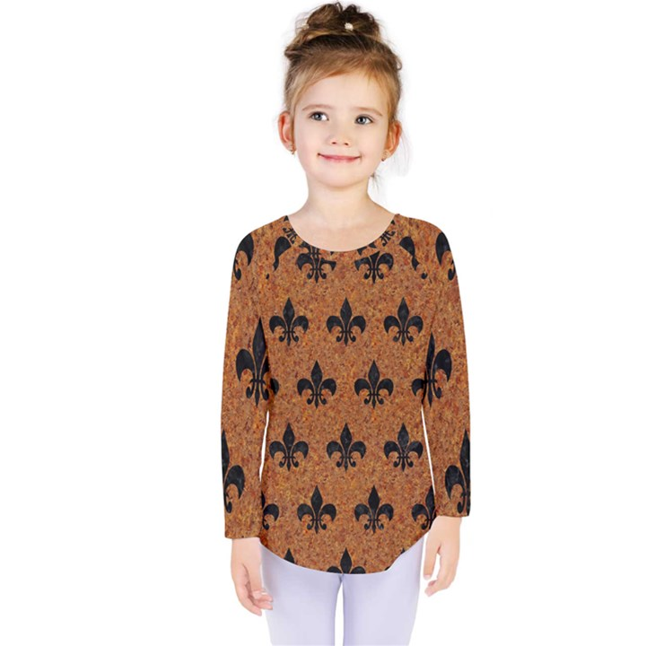 ROYAL1 BLACK MARBLE & RUSTED METAL (R) Kids  Long Sleeve Tee