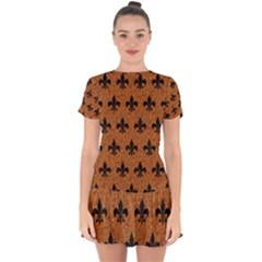 Royal1 Black Marble & Rusted Metal (r) Drop Hem Mini Chiffon Dress